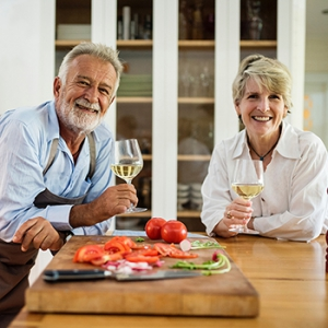 Retired Couple Drinking Wine